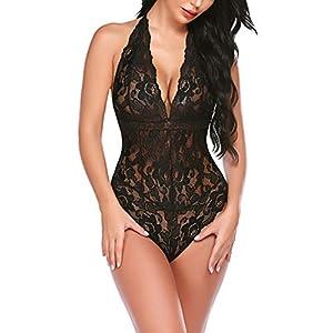 ADOME Women One Piece Lingerie Snap Crotch Bodysuit Lingerie Lace Teddy