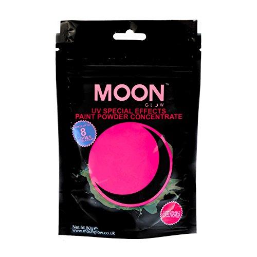 Moon Glow - 80g UV-Farbpuder Rosa - Party-Puderkonzentrat mit Neon-Spezialeffekt- ergibt bis zu 8 Liter