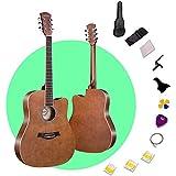 Zjcpow 41 '' de la Guitarra acústica de Cuerdas de Alambre Linden Panel de Madera Cutaway con Correa de Hombro Mochila Llevar fácil for Principiantes, 4 Colores (Color: Gris, tamaño: 103.5cm) xuwuhz