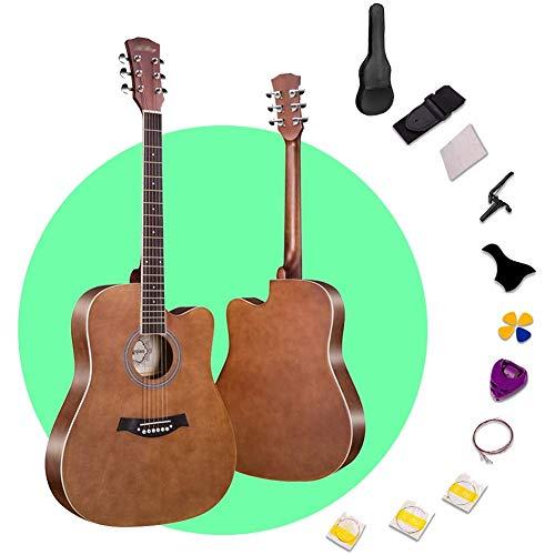 Zjcpow 41 `` Guitare Acoustique Fil Cordes Linden Panneau de Bois Cutaway Guitare avec bandoulière Sac à Dos Facile Carry Débutant, 4 Couleurs (Couleur: Gris, Taille: 103.5cm) xuwuhz