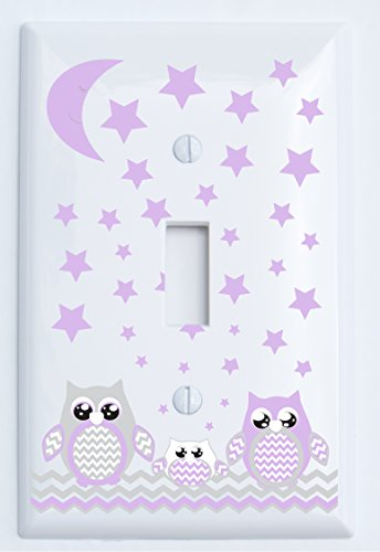 Grey and Purple Owl Light Switch Plate Covers / Single Toggle / Owl Nursery Decor (Purple Single Toggle Owl Switch Plate)