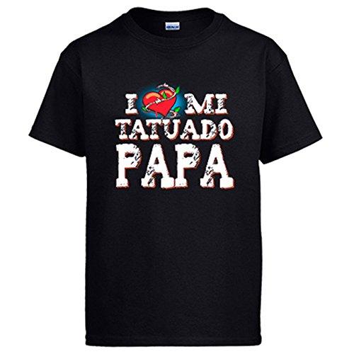 Diver Camisetas Camiseta I Love mi Tatuado papá - Negro, L
