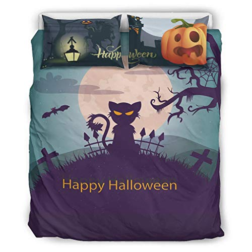 XJJ88 Bedspread Comforter Cover My Little Soft All-Season -Halloween's Day Gift Bed Set 3 Piece for Home Lodge white 104x90 inch