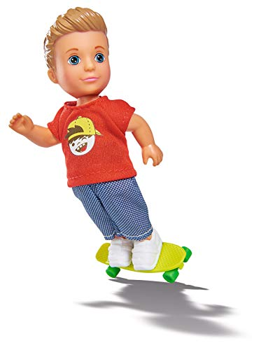 Simba 105733070 - Evi Love Skate Timmy / Evis Freund / in coolem Outfit mit Skateboard / Ankleidepuppe / 12cm, für Kinder ab 3 Jahren