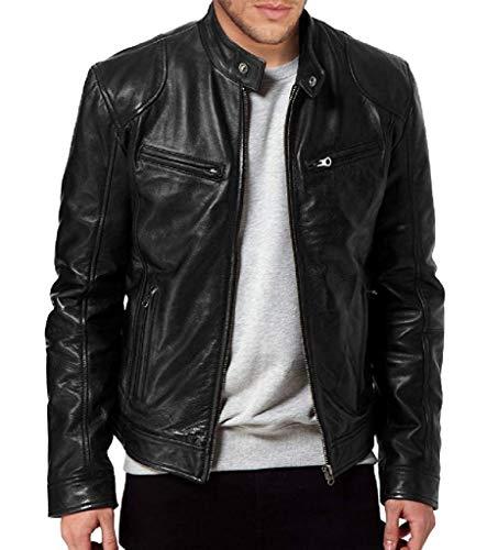 SKY LINE OCEAN Men's Leather Bomber Outwear Jacket Biker Motorcycle Slim Fit