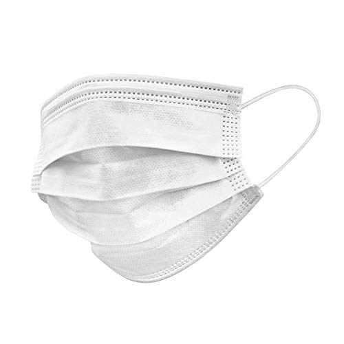 Pure Protective 3-Ply Disposable Face Mask with Nose Wire and Elastic Ear Loops – White – Box of 50