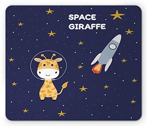 Universum-Mausunterlage, kalligraphische Zusammensetzung der Raum-Giraffe der Sterne und der Rakete, Standardgrößen-Rechteck-rutschfestes GummiMousepad, dunkles Nachtblau und Mehrfarben,Gummimatte 11,