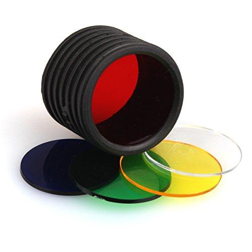 kraftmax Coast LF100 Tactical Farbfilterset für Jäger passend zu HP7 Taschenlampe - gelb/rot/grün/blau/transparent