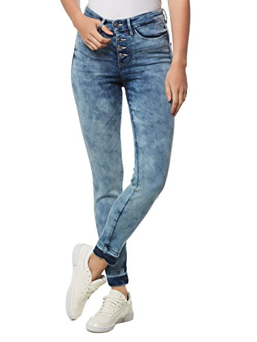 Guess 1981 Exposed Button Jeans, Blu (Coney Wash), 28W x 29L Donna