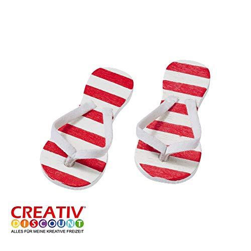 CREATIV DISCOUNT® NEU Miniatur- Flip-Flops, rot gestreift, 2 Paar