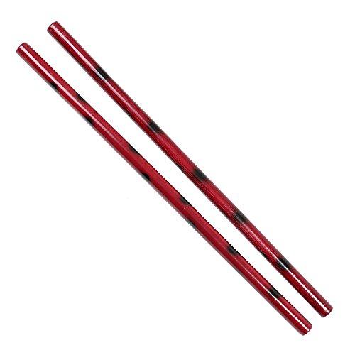 Confezione da 2corta bastoni per Escrima, arnis o autodifesa Lunghezza: circa 66cm Diametro: circa 2,5cm Leggero e stabile In rattan, colore: rosso/nero maculato
