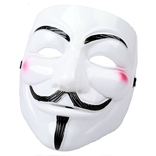 AStorePlus Funny V for Vendetta White Mask, Cosplay Guy Fawkes Mardi Gras Party Mask Halloween Costume Accessory