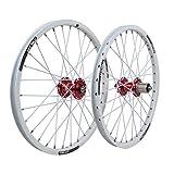 MZPWJD 20 Inch Bicycle Wheelset Double Wall Alloy Rim Disc Brake Sealed Bearing QR 8/9/10 Speed Card Hub for BMX Folding Bike 32H (Color : White)