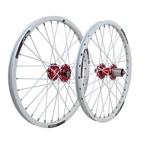 Ruedas 20 Pulgadas Juego Ruedas Bicicleta Llanta Aleación Doble Pared Freno Disco Rodamiento Sellado QR 8/9/10 Velocidad Tarjeta Hub para BMX Bicicleta Plegable 32H (Color : White)