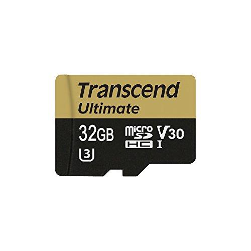 Transcend TS32GUSDU3M 32GB MicroSDHC Clase 10 Memoria Flash - Tarjeta de Memoria (32 GB, MicroSDHC, Clase 10, UHS-I, 95 MB/s, Negro, Oro)