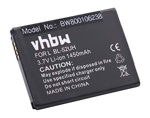 vhbw Li-Ion Akku 1450mAh (3.7V) für Handy Smartphone Handy LG L41C, L65, MS323 wie BL-52UH.