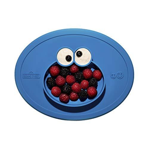 EZPZ Cookie Monster Mat 6+. Plato 100% de silicona con mantel individual incorporado para bebés y niños pequeños. Gris oscuro