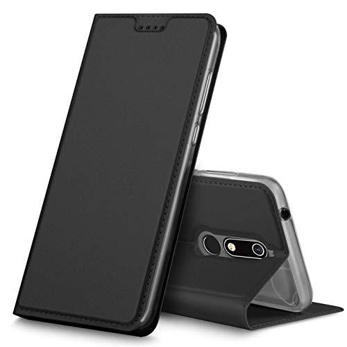 Verco Handyhülle kompatibel mit Nokia 7.1, Premium Handy Flip Cover für Nokia 7.1 Hülle [integr. Magnet] Case Tasche, Schwarz