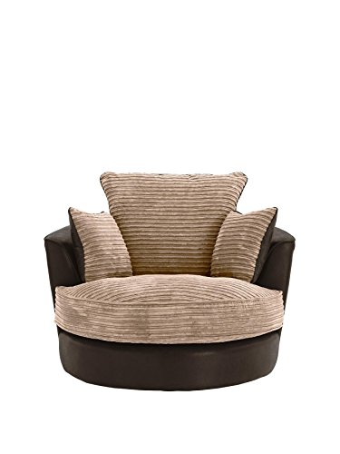 SOFASANDMORE Large Swivel Round Cuddle Chair Fabric Corduroy Chenille Leather Designer Scatter Cushions (Brown)