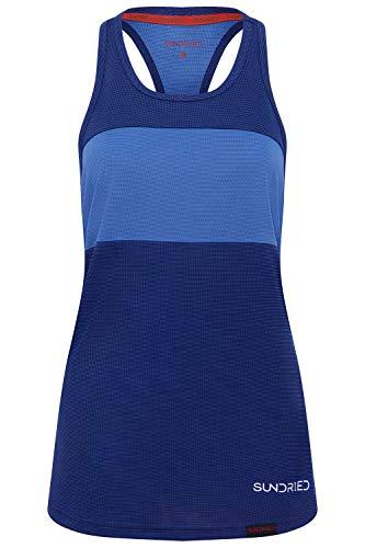 Sundried Sport delle Donne della Maglia di Usura di Yoga Senza Maniche a Spalle Scoperte Formazione e Palestra Canotta (Blu, L)