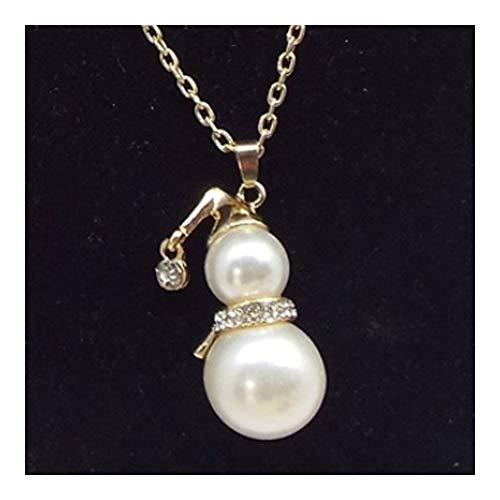 chenyou Colgante de cadena larga para suéteres con perlas de cristal y muñeco de nieve con colgante de calabaza, collar para mujer (color de metal: Jin)