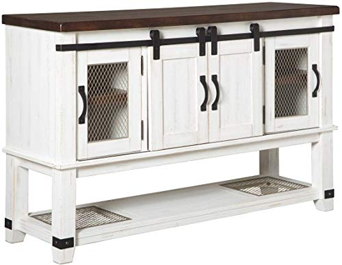 Signature Design by Ashley Valebeck Farmhouse Dining Room Server or Buffet, White & Brown