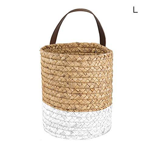 SJDWDX Cesta tejida para plantas con asas, cesta colgante para plantas con asas para colgar en interiores, cesta de almacenamiento para jardín, oficina, hogar, porche, balcón