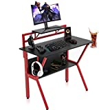 SEATZONE Functional Gaming Desk 37' Computer Desk with Monitor Stand Home Office PC Table Wood and Red Metral K-Frame Room Student Study Desks Gamer Workstations with Storage Shelf Work Desk Black