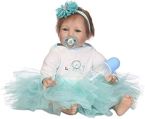 FafalloaGrün 55,9 cm Silikon Neugeborene lebensechte Baby-Puppe Weiß hellblau Netzkleid Blaume Stirnband Frühkindheit Kinderspielzeug