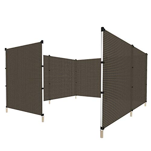 Windscreen4less Fence with Poles Safety Privacy Fencing for Backyard Garden Poultry Rabbits Deer Dog Baseball Field Fence 6'H x 24'L Brown