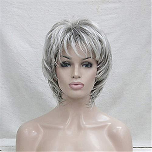 DER Peluca de Mujer Capas Pelo Rizado Longitud Media Sintticas Pelucas natrurales Fibra de Alta Temperatura 5 Colores (Color : Silver Grey Short, Stretched Length : 16inches)