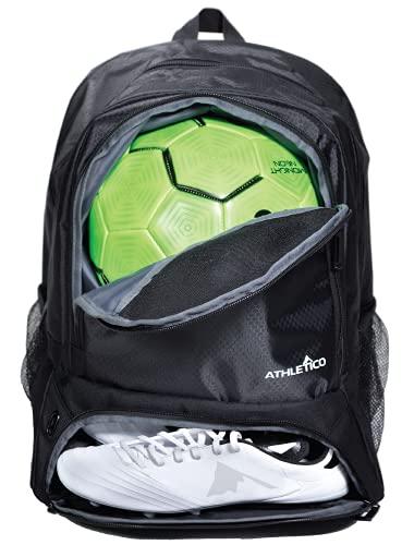 Athletico Fußballtasche für Jugendliche, Fußball-Rucksack & Taschen für Basketball, Volleyball & Fußball | für Kinder, Jugendliche, Jungen, Mädchen | inkl. separaten Stollen und Ballfächern (schwarz)
