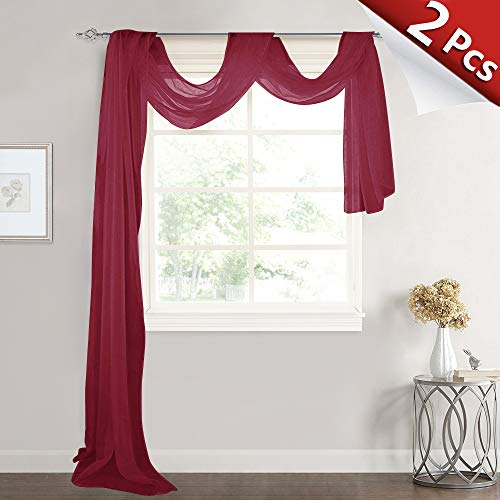 RYB HOME Sheer Curtains Valance for Canopy Bed - Morden Voile Window Decorating Panels Backdrop for Baby Shower Girls Bedroom Bathroom Sun Room, 60-inch Wide x 216-inches Long, Burgundy