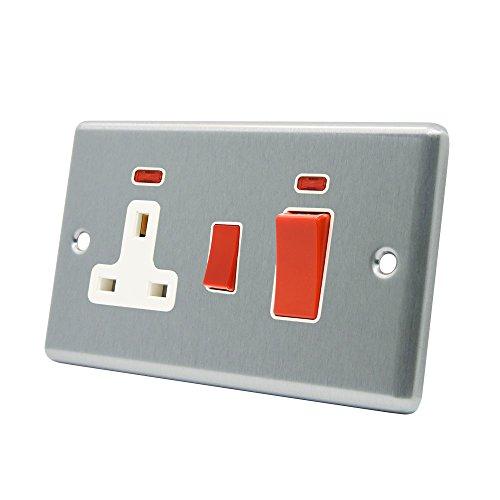 AET CSCCC2NWH schakelaar-eenheid, 45 A, 2-weg, chroom-afwerking, klassiek witte aansluiting, inzet voor fornuisbediening, met 13-A-schakelaar, stopcontact met neon-rode lampen
