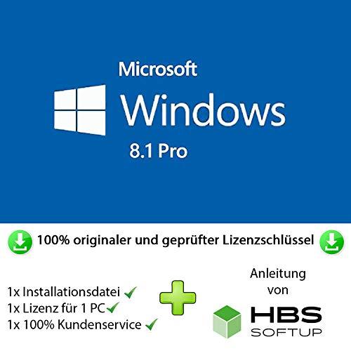 MS Windows 8.1 Professional 32 bit & 64 bit Vollversion Multilingual - Original Lizenzschlüssel per Post und E-Mail + Anleitung von HBS SOFTUP® - Versand max. 60Min