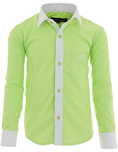 GILLSONZ A2vDa Kinder Party Hemd Freizeit Hemd bügelleicht Lange Arm mit 8 Farben Gr.86-158 (146/152, Apfelgrün)