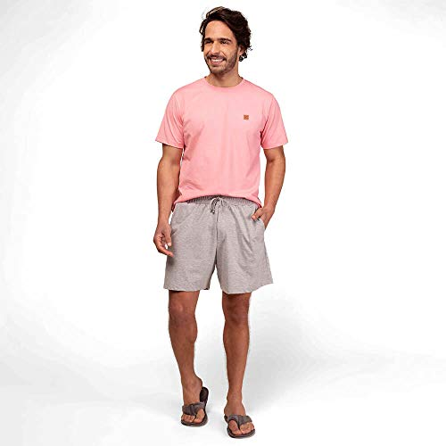 Pijama Manga Curta Masculino Meia Malha Mensageiro dos Sonhos Confort Camiseta Cor Rosa TamanhoAdulto:G