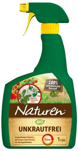 Naturen Unkrautfrei, Anwendungsfertiges Spray, zur Bekämpfung von Unkräutern, Gräsern und Moos, schnelle Wirkung, biologisch abbaubar, ohne Glyphosat, 1 Liter Sprühflasche