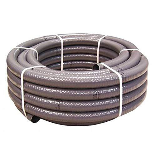 Couronne 25m Tuyau Gris Piscine PVC Pression Souple Semi-Rigide à coller diamètre 50mm⌀ extérieur