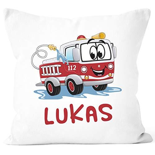 SpecialMe® Kissen-Bezug mit Namen Wunschname Feuerwehr-Auto Namenskissen Junge Kinder Baby weiß Unisize