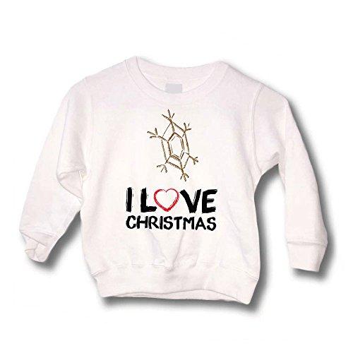 Altra Marca Felpa Bimbo Maglione Natalizio Personalizzato Bambino Fiocco di Neve I Love Christmas