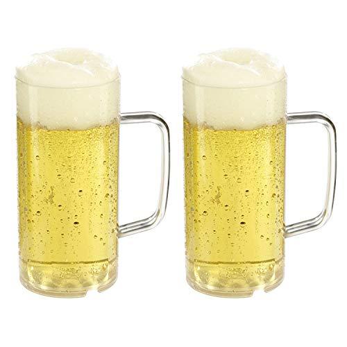 versandfuxx24 Boccale da birra per esterni, 0,4 l, set da 2 bicchieri da birra in plastica con tacca di 0,3 l