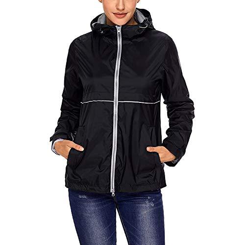 SWISSWELL Women's Cycling Rain Jacket Waterproof Windproof Hooded Raincoat (B-Black,X-Large)