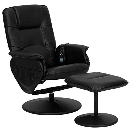 Flash Furniture Massaging Multi-Position Recliner with Deep Side Pockets and Ottoman with Wrapped Base in Black Leather