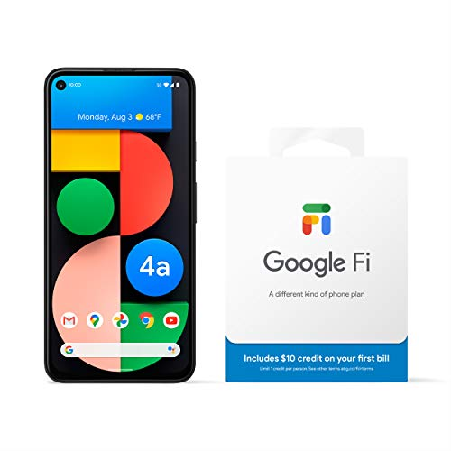 Google Pixel 4a with 5G - Android Phone + Google Fi Service - Just Black