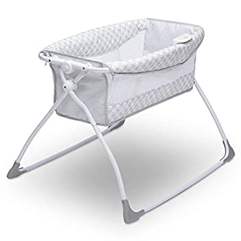 Delta Children Newborn Soothing Sleeper Bassinet - Portable Baby Crib with Compact Fold Grey Infinity