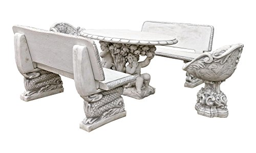 Antikes Wohndesign Garten Sitzgruppen-Set 2 x Bank 2 x Sessel 1 x Tisch Steinmöbel Steintisch Steinbank Gartenbank Steinbank Steinsessel Steintisch