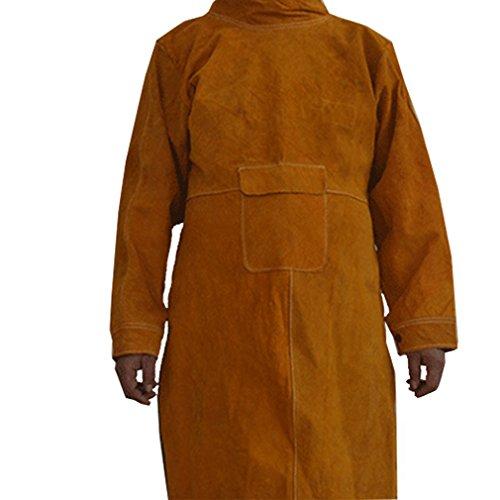 QEES Schweißerschürze aus Büfelleder Lang Anti-Flamme Rindleder langer Mantel Schutzkleidung aus Leder Bekleidung Anzug Schweißer WQ23