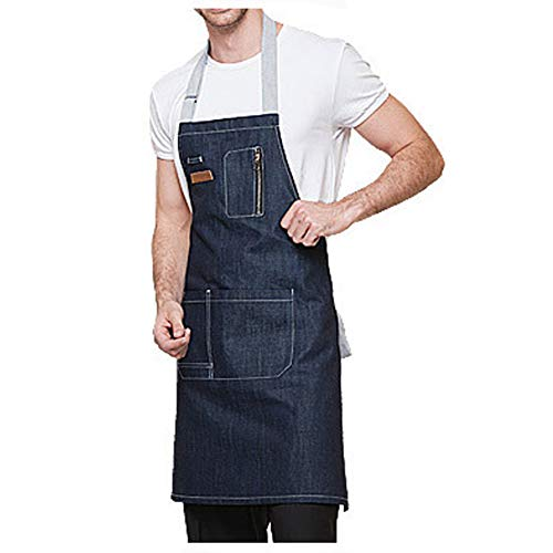 Denim Apron with Pockets for Men and Women, Chef, Kitchen, Restaurant, BBQ, Grill, Baking, Coffee Shop and Studio (Blue(Long:29.9x24.4inch))