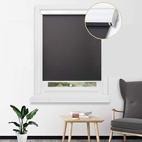 Loochoo Springrollo mit Aluminium-Kassette besseres Verdunklungsrollo für Fenster Thermorollo zum Bohren Anthrazit 140x180cm(BxH)